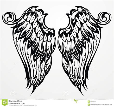 black and white angel wings tattoo designs wings stock vector image of flap heraldic