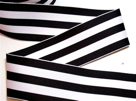Ribbon White wired ribbon black and white stripe grosgrain wired