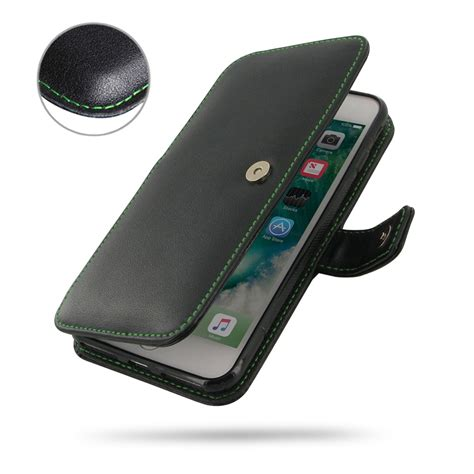 iphone 7 plus leather flip cover green stitch pdair book