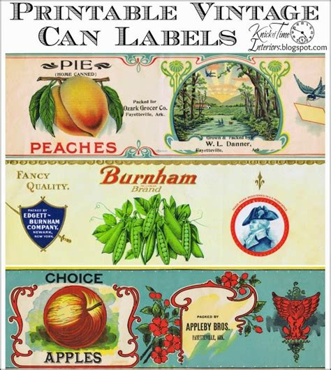 printable vintage labels for cans antique tin can fruit label printables knick of time