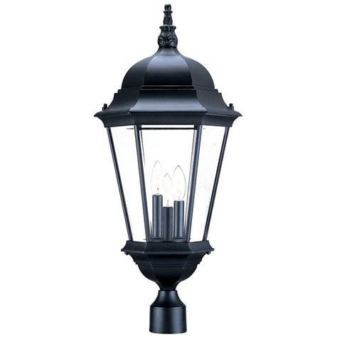 home depot exterior light fixtures acclaim lighting richmond 3 light matte black outdoor post mount light fixture 5208bk the home