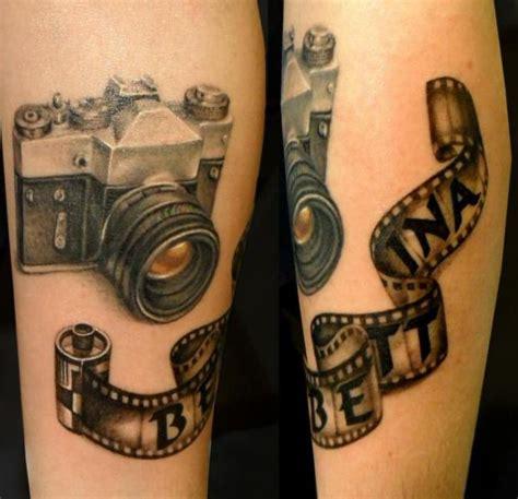 arm realistic camera tattoo  style tattoo