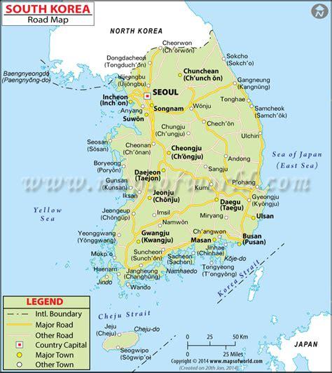 korean map south korea road map
