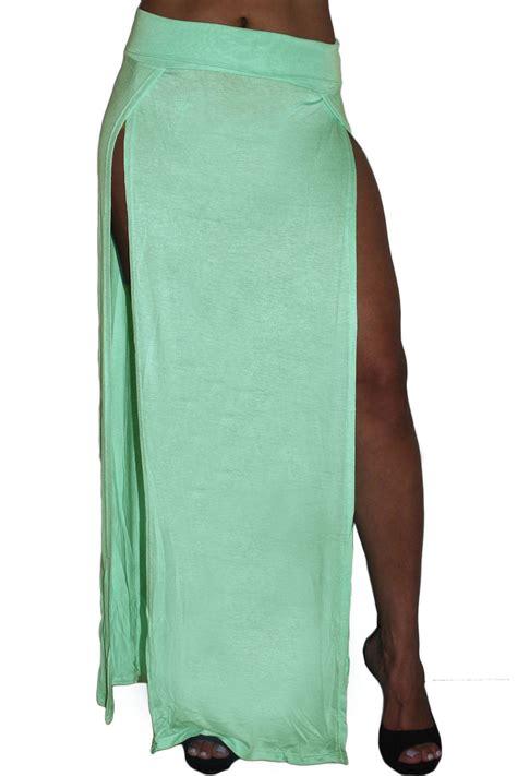 Maxi Khafali Mint St s maxi skirt juniors white rayon split open front length casual ebay