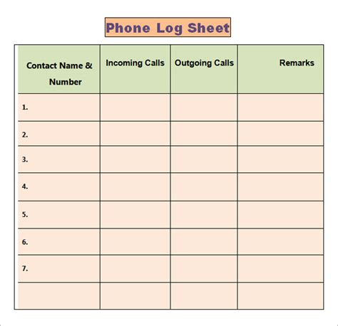 call register template phone log template 7 free pdf doc