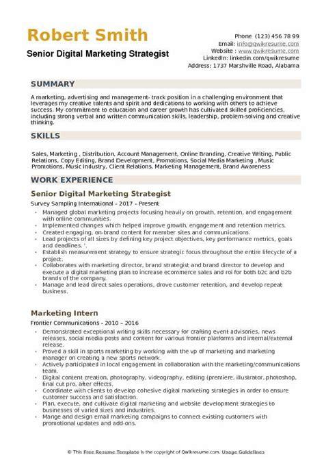 digital strategist resume nardellidesign com digital marketing strategist resume sles qwikresume