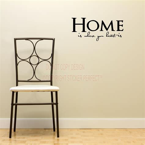 Home is where your heart is house decor inspirational vinyl wall decal quotes sayings art