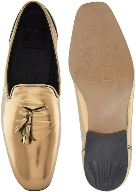 mens gold loafers asos tassel loafers in leather in gold for lyst