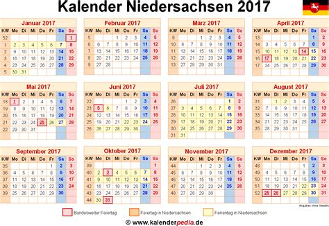Ewiger Kalender 2017 Kalender 2017 Mit Feiertagen Niedersachsen Kalender 2017