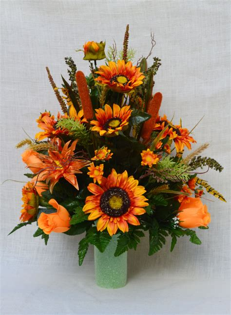fall floral arrangements no fc901 fall cemetery arrangement autumn cone flower
