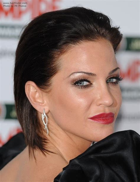 bobs cut awayfrom face sarah harding brunette hair styled away from her face