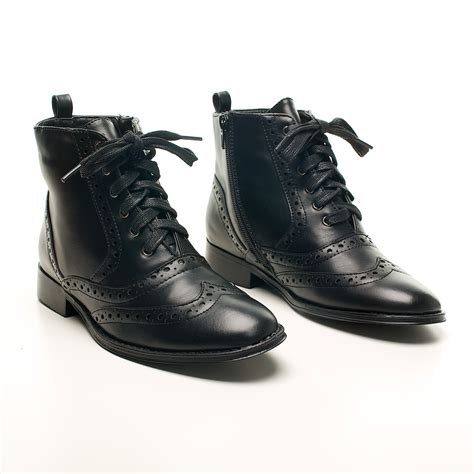 dolcis low heel flat brogue lace up ankle boots