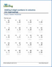 grade 2 math worksheet addition adding two 2 digit