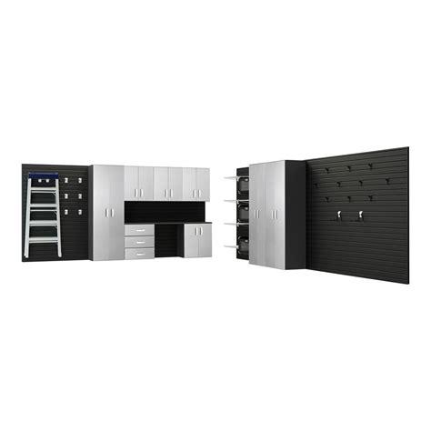 Flow Wall Modular Wall Mounted Garage Cabinet Storage Set With Garagestoragesystems Net Flow Wall Modular Wall Mounted Garage Cabinet Storage Set With Workstation In Black Platinum