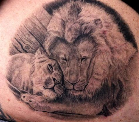 tattoos of lions two lions by pepper tattoonow