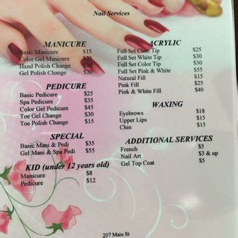 Lena S Hair Nail Salon Nail Salons 207 Main St East Rochester Ny United States Phone Pedicure Menu Template