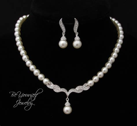 pearl bridal necklace and earring set single strand pearl