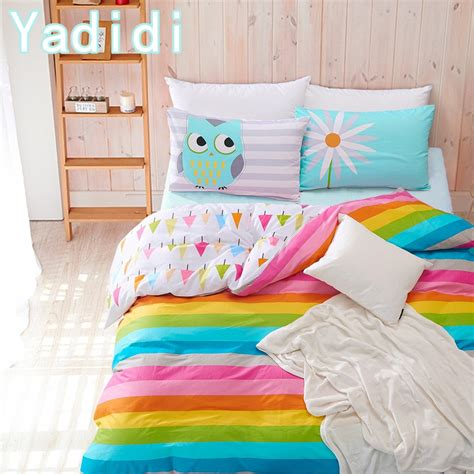 yadidi 100 cotton rainbow owl bedding set cartoon modern