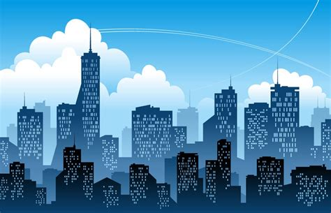 Modern City by Blue Modern City Vector Illustration Free Vector