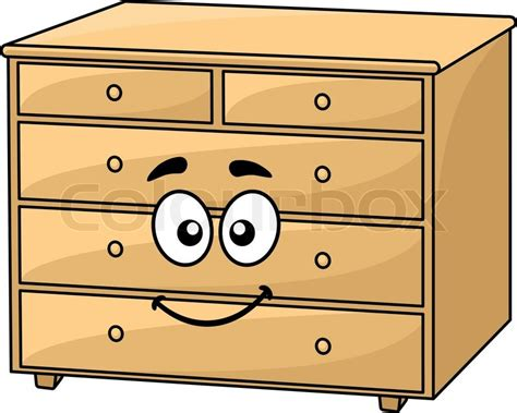 Sideboard Table Plans Cartoon Wooden Chest Of Drawers With A Happy Smiling Face