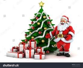 christmas scene santa claus christmas tree stock