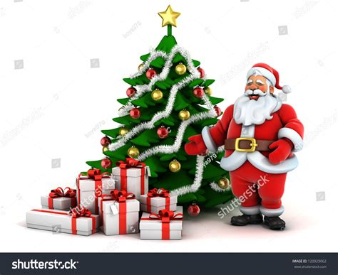 santa claus with christmas tree and gifts clipart