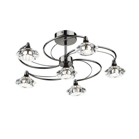 modern semi flush black chrome glass ceiling light