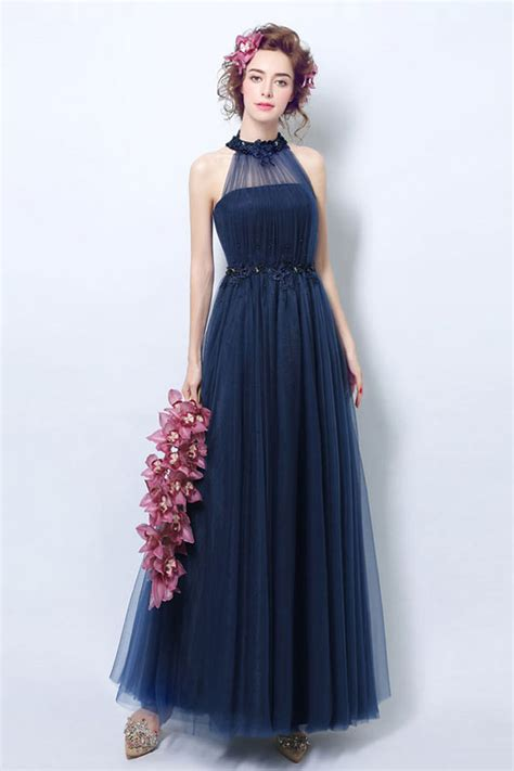 vintage robe bleu nuit en tulle 224 col halter pour