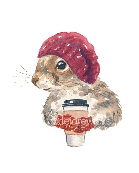 Coffee Squirrel Watercolor PRINT 8x10 Print Squirrel