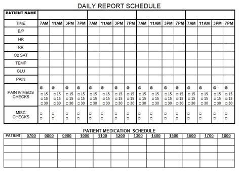 Daily Report Schedule Nursing Pinterest Nurse Brain Sheet Nursing Documentation And Cna Schedule Template