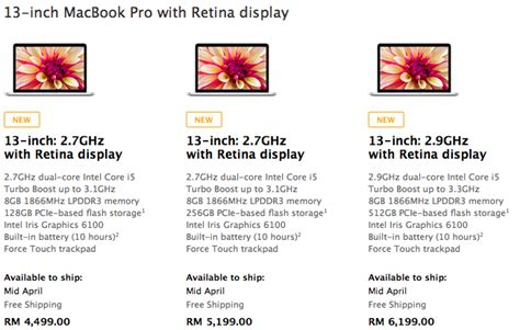 4 Retina Display Di Malaysia new pricing and specs bump macbook pro retina display