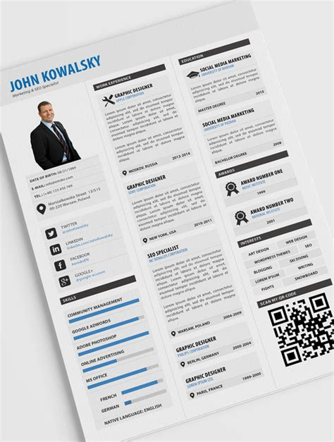 template resume psd 10 new fashion resume cv templates for free 365 web resources