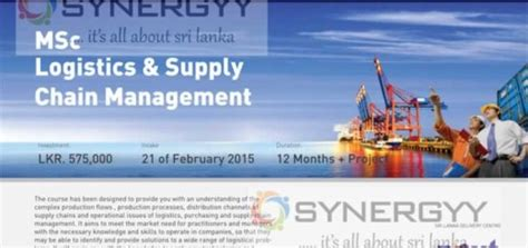 Mba In Supply Chain Management In Sri Lanka by Masters Degree Programme In Srilanka Education Synergyy