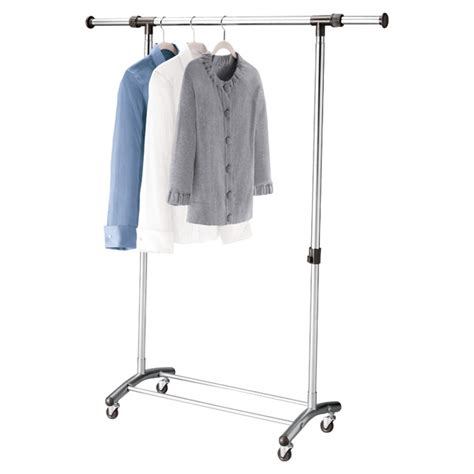 chrome clothes rack brushed chrome garment rack the container store