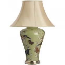 Soft Green Birds & Butterflies Cardinal Ceramic Table Lamp