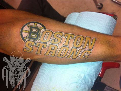 boston strong tattoo finao artist aaron packard logo boston strong bruins