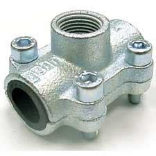 Metalica Hem A035 1 abrazadera de fundicion con toma para tuberia de hierro y acero