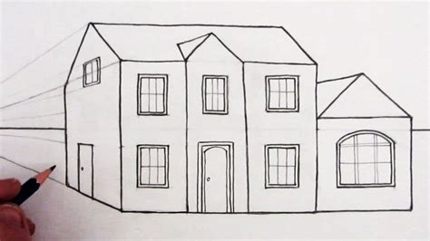 drawing house how to draw a house in 1 point perspective narrated youtube