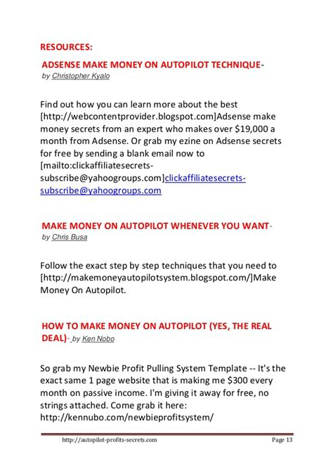 How To Make Money Online On Autopilot For Free - how to make money on autopilot