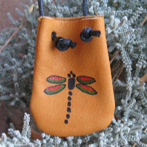Handmade Pouches Bags - american dragonfly handmade leather medicine bag