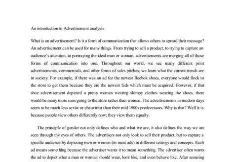 Advertising Essay Introduction by An Introduction To Advertisement Analysis In The Article Re Discovers The