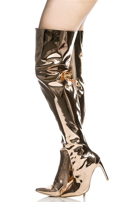 gold metallic thigh high pointed toe boots cicihot