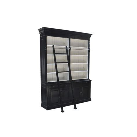 Black And White Bookcase Provincial Two Bay Bookcase With Ladder In Black