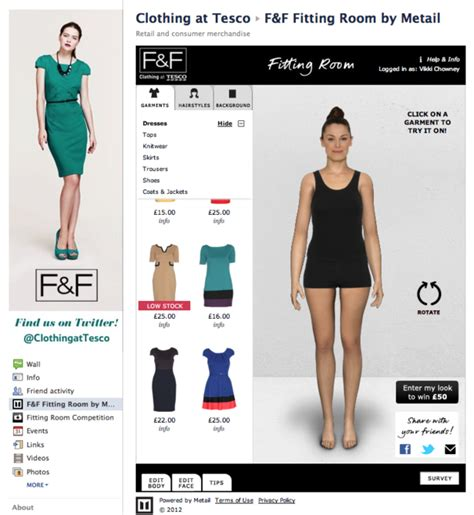 Online 3d Modeling tesco launches facebook based virtual fitting room