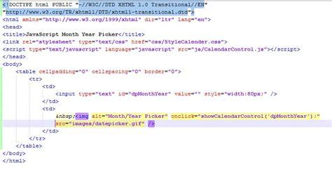 format html code javascript javascript month year picker