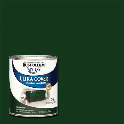 rust oleum painter s touch 32 oz ultra cover gloss green general purpose paint 1938502