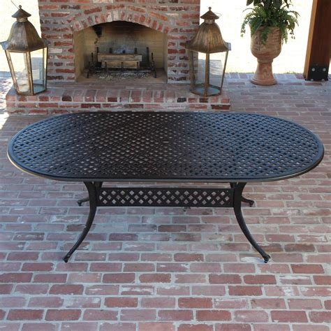 Oval Cast Aluminum Patio Table Heritage 6 Person Cast Aluminum Patio Dining Set With Oval Table By Lakeview Outdoor Designs
