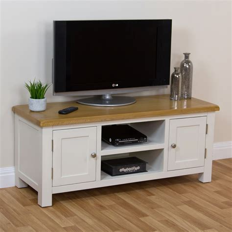 cream corner tv cabinet cotswold cream painted large widescreen tv unit with oak