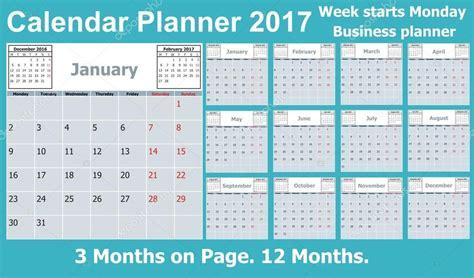 Calendario 2017 Meses Planificador De Calendario Para El A 241 O 2017 3 Meses En La