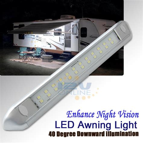 12v 9 84 quot silver led awning porch light rv caravan boat